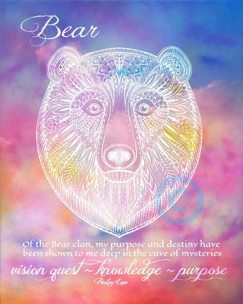 Bear Spirit Animal Messenger Watercolor Print