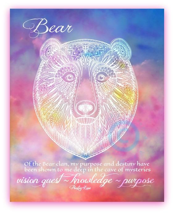 Bear Spirit Animal Messenger Watercolor Zentangle Art Prints by Presley Love